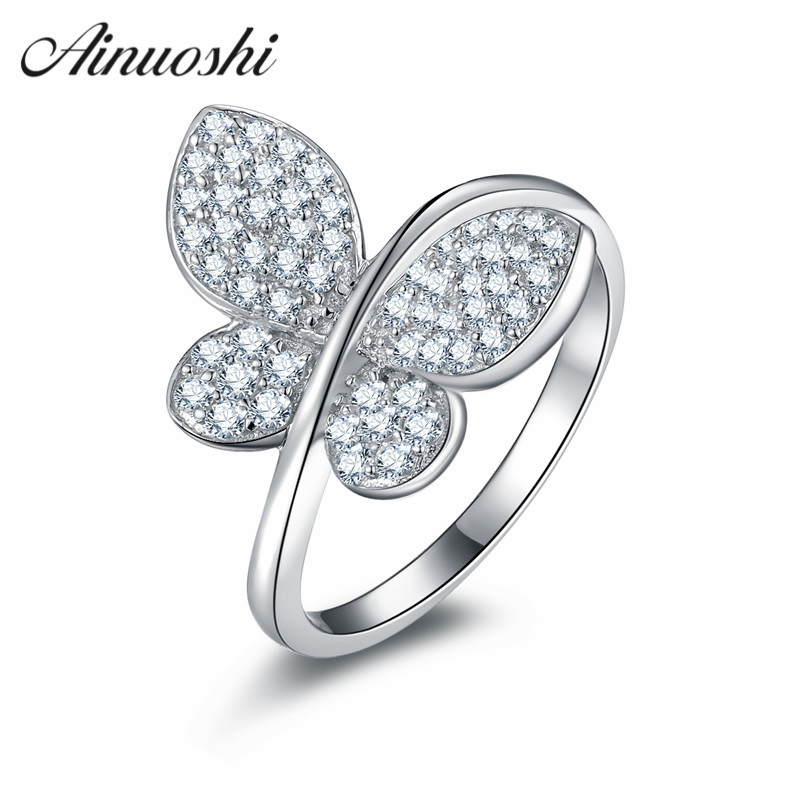 AINUOSHI Elegant Vintage Style Finger Ring 925 Sterling Silver Animal Butterfly Shaped Engagement Ring Lady Wedding