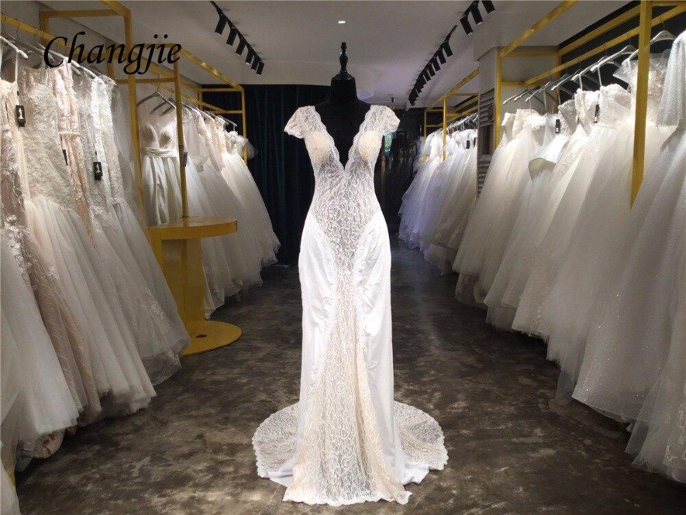 2018 Lace And Satin Wedding Dresses Deep V Neck Cap Sleeve