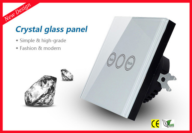 EU Type Touch Light Timer Switch with Crystal Tempered Glass Panel, 1 Gang 1 Way Time Delay Wall Switch