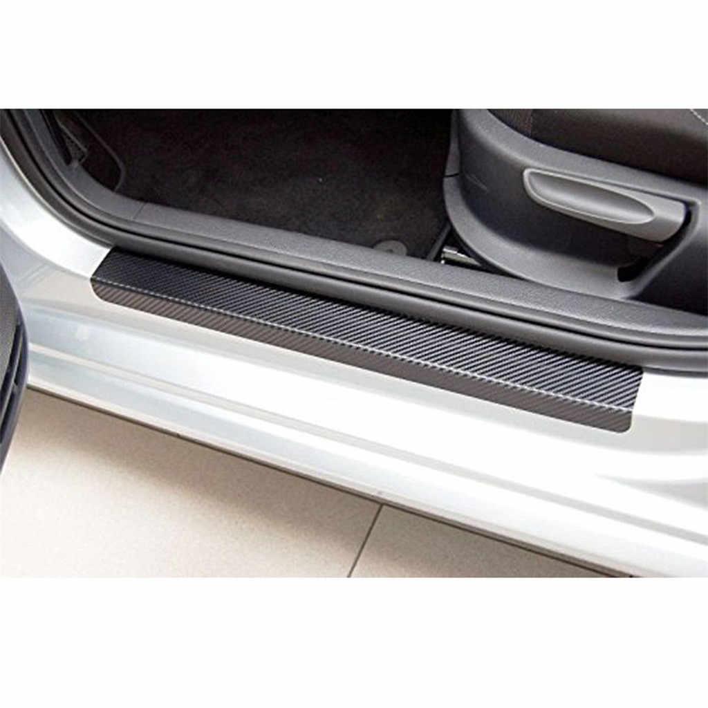Protetor de Carro de Fibra De carbono do Peitoril Da Porta Scuff Pedal Bem-vindo Proteger, Anti Zero Adesivo para Portas Dianteiras e Traseiras
