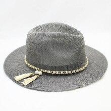 SUOGRY Panama Hat Women Straw Fedora Fmale Sunhat Women Summer Beach Sun Visor Cap Chapeau Cool Jazz Trilby Cap Sombrero