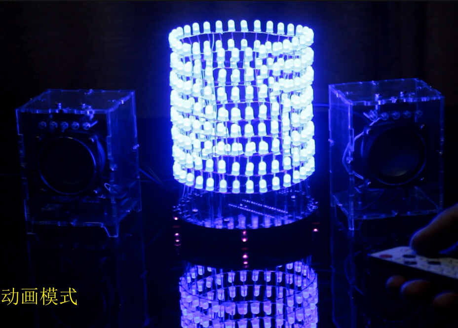 Single chip light column LED 8X32 Light Cube spectrum electron DIY production circle dot matrix send program single electron devices and circuits design