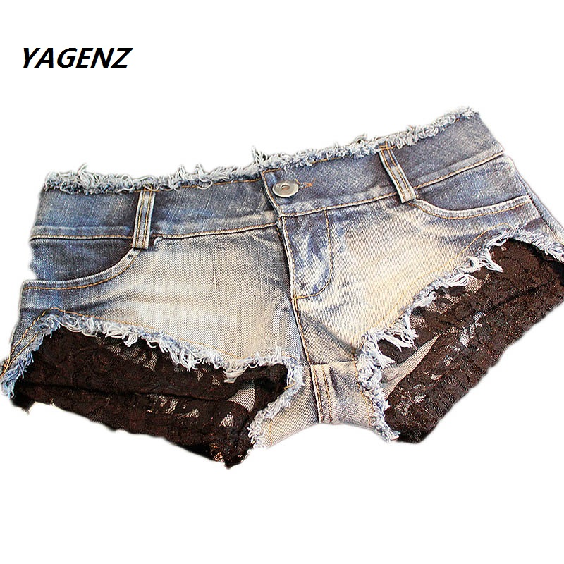 2019 Summer Fashion Sexy  Women Sexy Cut Off Low Waist Lace Shorts Women Denim Jeans Super Mini Womens Disco Dance Hotpants Hot