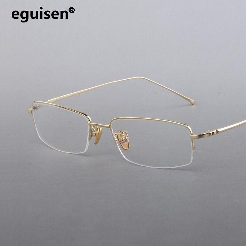 Largeur-134 unisexe ultra léger titane mince jambe demi cadre mâle optique lunettes cadre femmes hommes lunettes cadre oculos lunettes