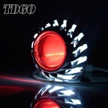 TDGO 2PCS 12V Motorcycle Headlight 30W Headlight Driving Head Light Spot Lamp Angel Eye Devil Lamp Spotlight For Suzuki Honda