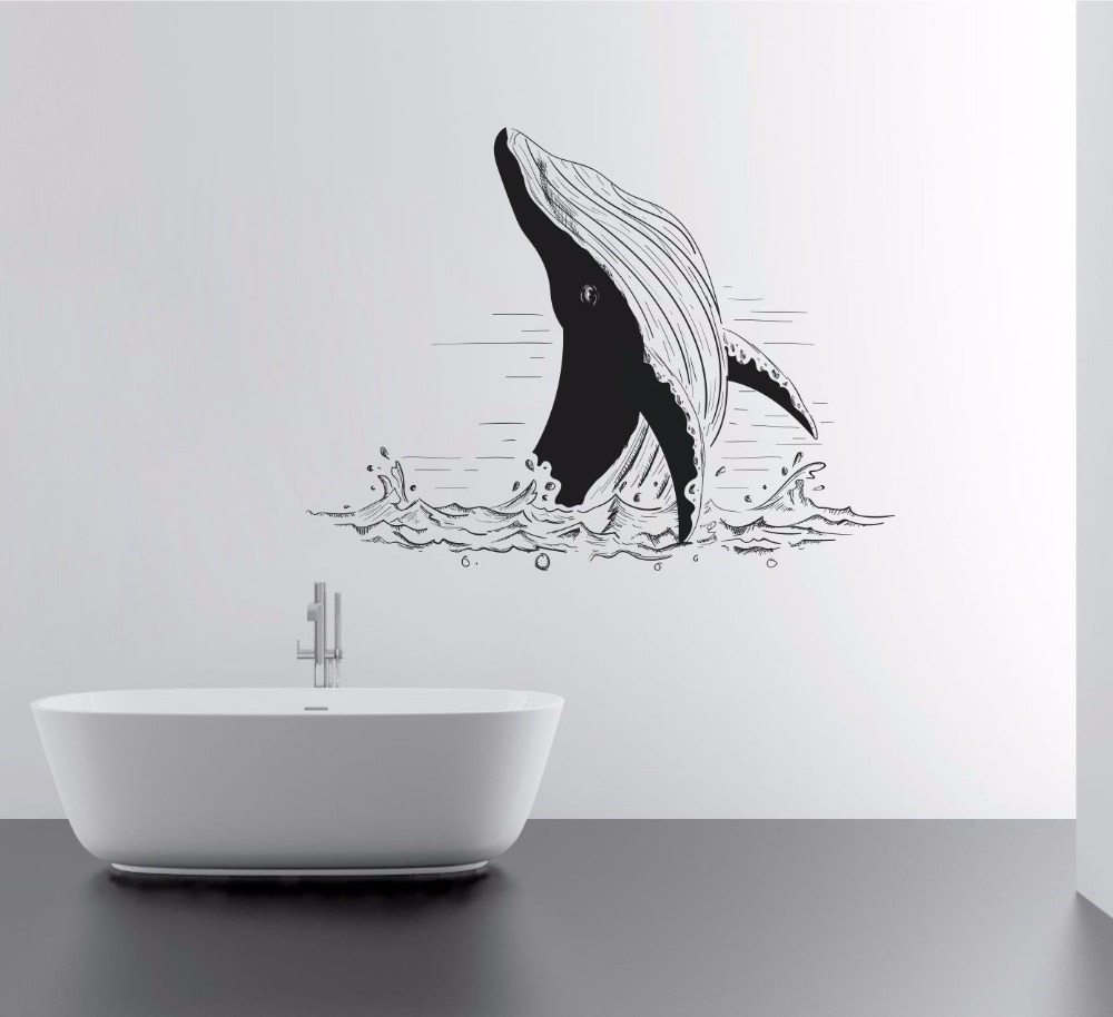 Sea Animal Wall Stickers Home Bathroom Decor Vinyl Removable Wheal Fish In Mural Ocean Wallpaper Lovely W448