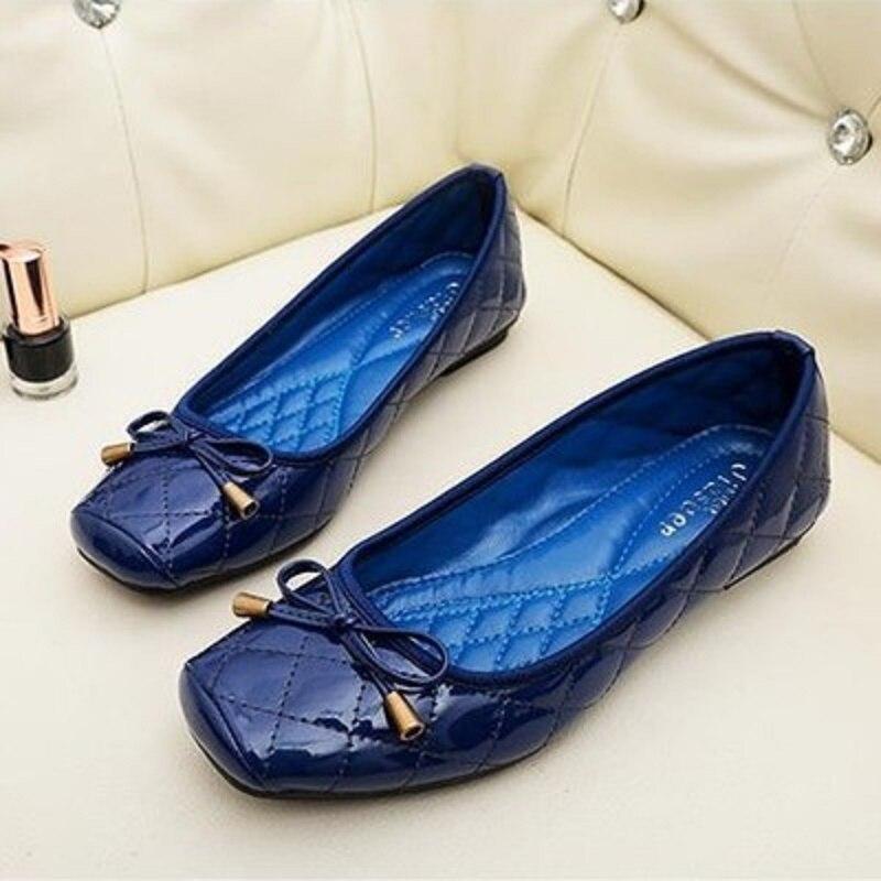 Chaussures Royal Motif Or Place Cuir rouge Plat Profonde Doux Nouvelle Bouche Verni En Confortable La Version bleu Carré Coréenne De Arc Semelle Printemps Peu qHRgYwR