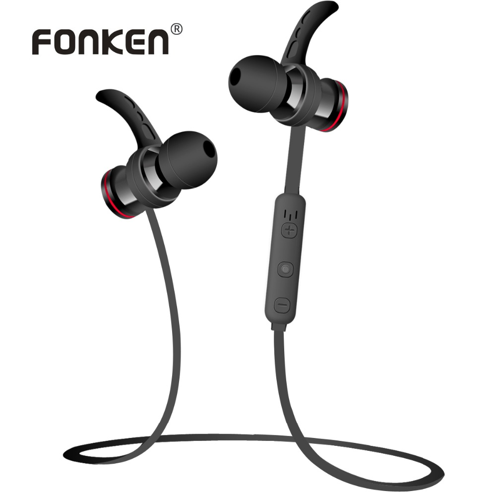 FONKEN In-Ear Bluetooth Earphone Wireless Sport Earphones Magnetic Stereo Earbuds with Mic HIFI in ear earpiece for mobile phone автокресла детские renolux renolux автокресло serenity 0 1 griffin