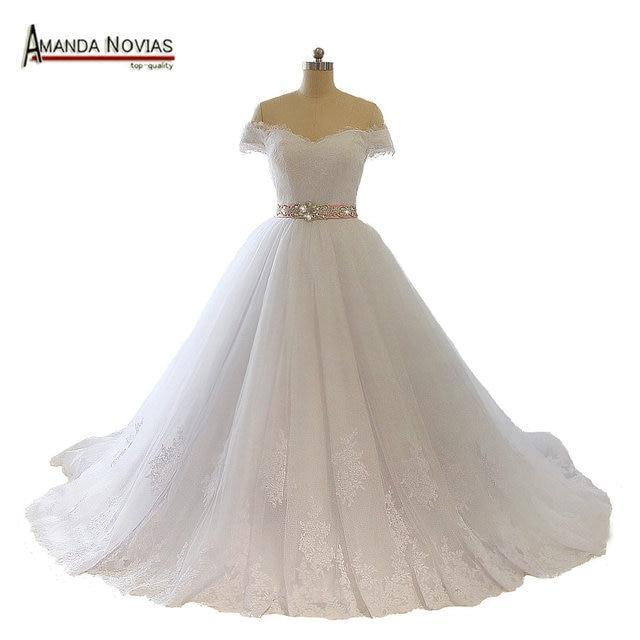 vestido para casamento hombro manga corta de encaje con aplicaciones