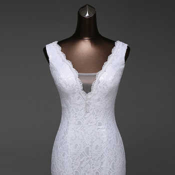 Free shipping very beautiful lace Sexy romantic mermaid wedding dress backless vestidos de noiva robe de mariage ball gowns