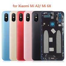 Задняя крышка аккумулятора для Xiaomi Mi A2, задняя крышка, металлическая дверь, стекло объектива камеры Mi 6X + запасные части для ремонта бокового ключа