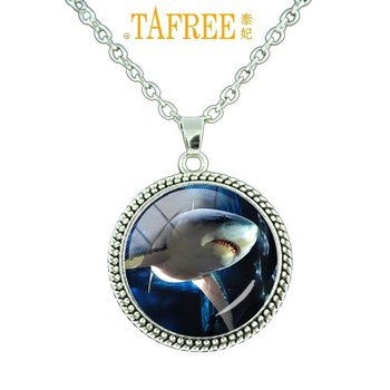 TAFREE Fashion Sea Animals Necklace Men Women Gift Shark Turtle Whale Cannibal Fish Documentary the Bule Planet Jewelry OC38 image