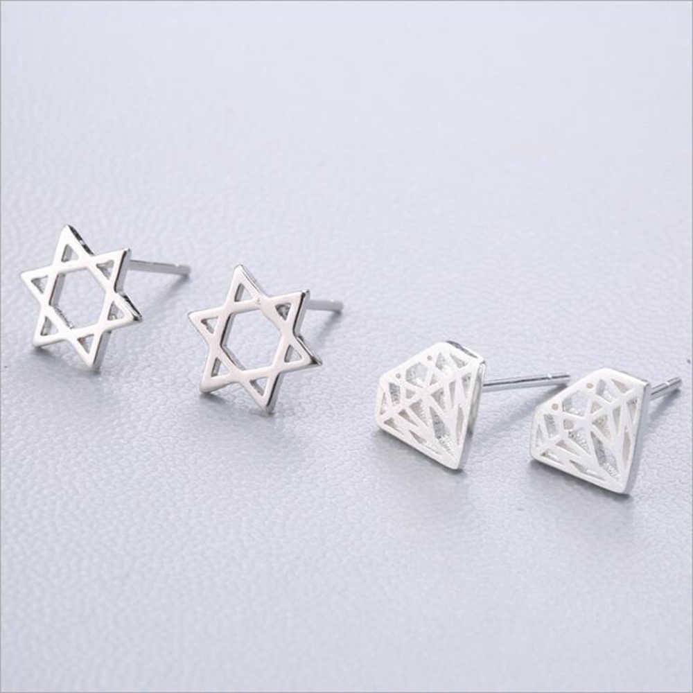 XIYANIKE Plata de Ley 925 aguja de oído Simple moda geometría pendientes de tuerca con personalidad refinamiento pendiente joyería de mujer 19-36