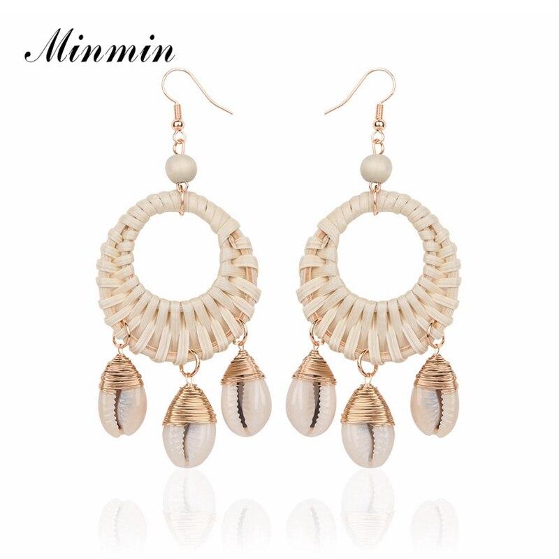 Minmin Bohemia Rattan Knit Big Round Dangle Earrings 2019 Brand Design Shell Pendant Hook Earrings Fashion Korean Jewelry Eh1405 Discounts Price Earrings Drop Earrings