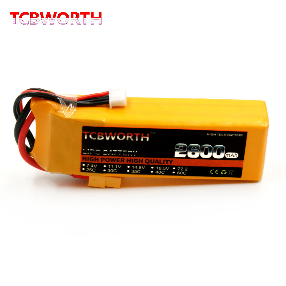 TCBWORTH 4S RC LiPo battery 14.8V 2600mAh 35C For RC Airplane Quadrotor Helicopter Drone Li-ion battery 1s 2s 3s 4s 5s 6s 7s 8s lipo battery balance connector for rc model battery esc