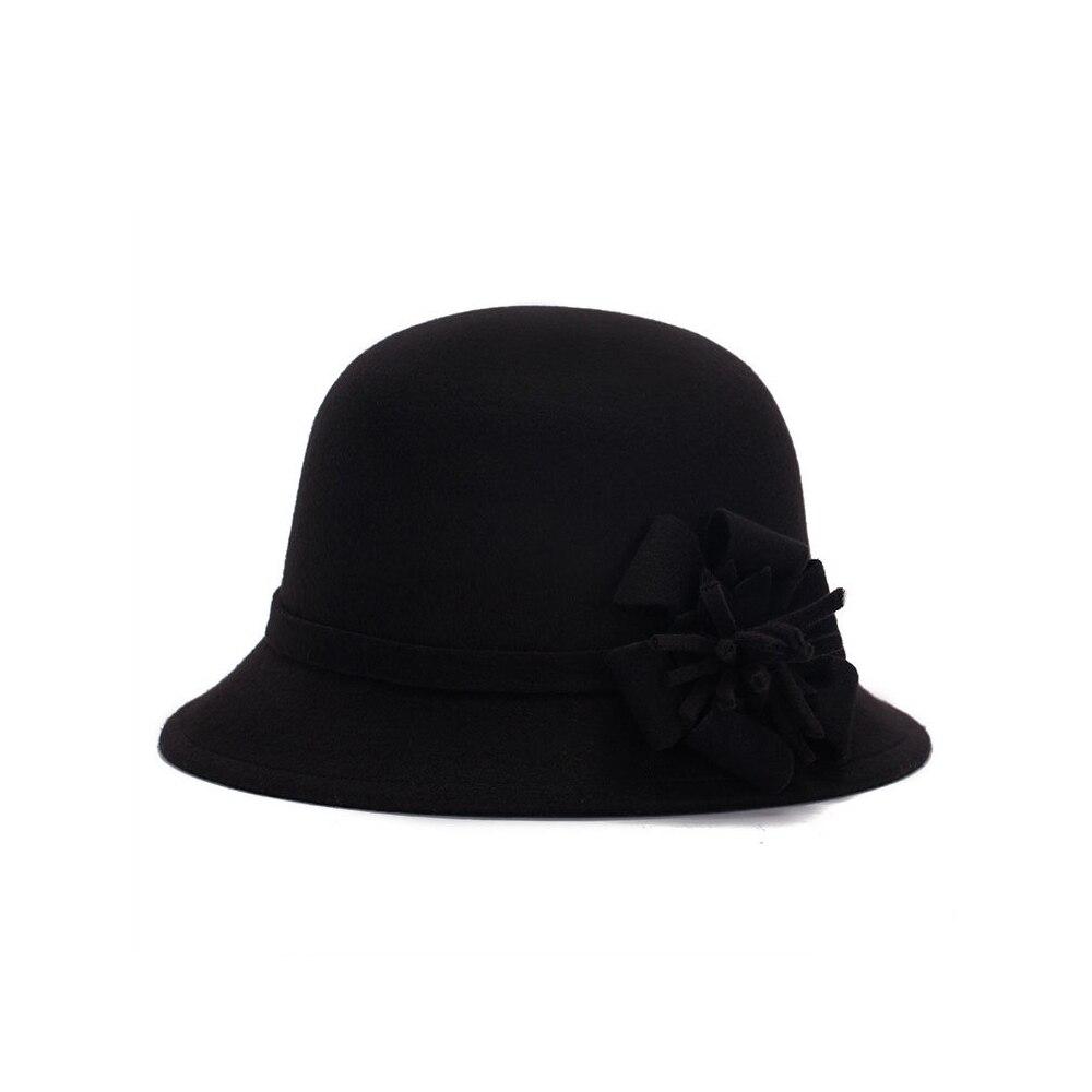 Vogue Для женщин флоппи цветы шляпа Имитация шерсти, с цветочным рисунком, на возраст от котелок шапка, сезон осень-зима; женские свадебные шляпы для принцессы держать femme Кепка с покрывалом - Цвет: black