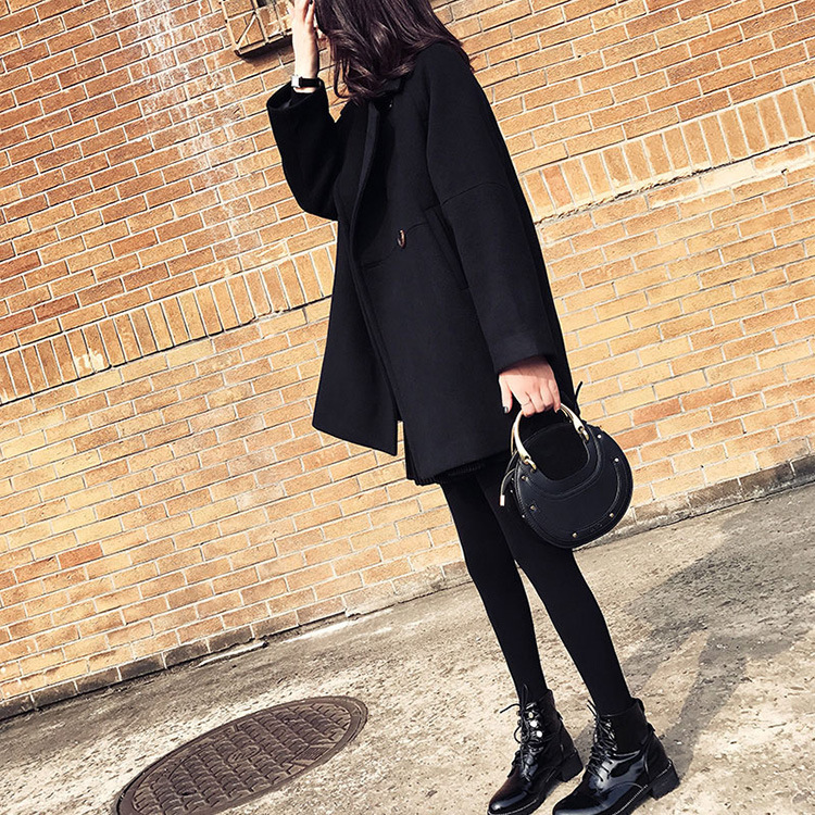 Mistura feminino preto fino elegante sólido coreano
