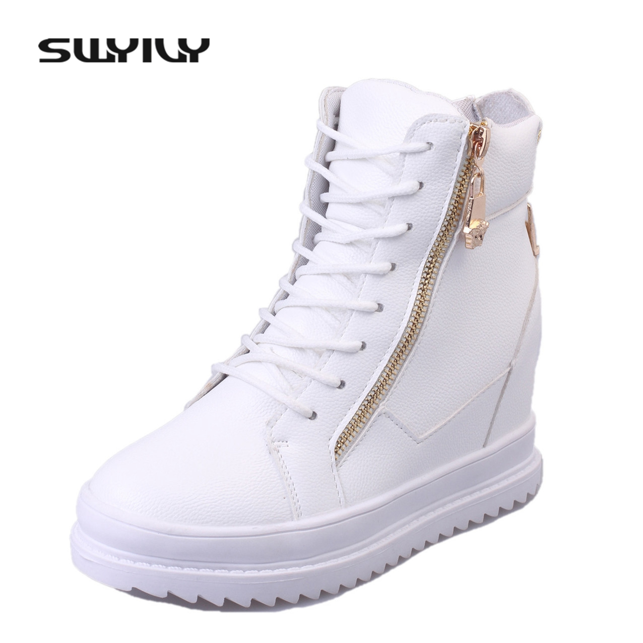 SWYIVY Women Sneaker White High Top Canvas Shoes Wedge Platform Sneakers Women Casual Shoes 2018 ...