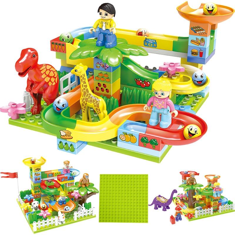 88 111Pcs Marble Race Run Maze Balls Track Building Blocks Funnel Slide Big Size Building Brick Compatible Legoingly Duploed