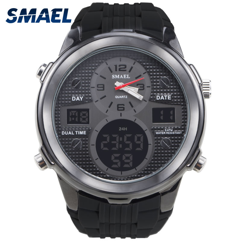 SMAEL Brand Watch Dual Time Wristwatch Waterproof LED Digital  Watch Men Quartz Clock 1273 relogio masculino top brand Best Gift bewell natural wood watch men quartz watches dual time zone wooden wristwatch rectangle dial relogio led digital watch box 021c
