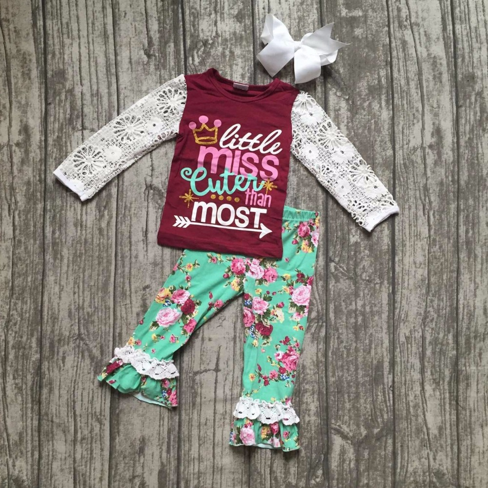 Fall/Winter little miss cuter than most floral pants baby girls cotton lace boutique children clothing flower matchaccessory little miss magic