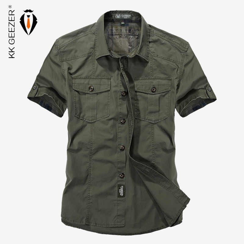 Militär Shirt Männer Baumwolle Werkzeug Casual Shirts Kurzarm Lose ArmyGeen Taschen Atmungsaktiv Hohe Qualität Kleid Hemd Große 4XL