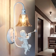 Creative Pastoral White Angel Crystal E14 110 220V Wrought Iron wall lamp Sconce for foyer abajur