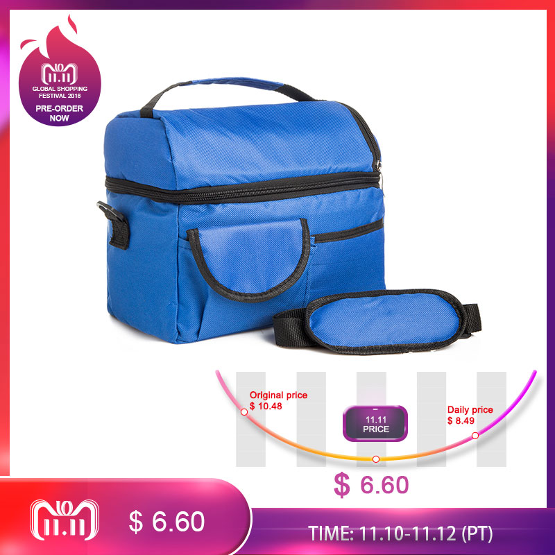 Mihawk 2 Layers Insulated Cooler Bag Thermal Lunch Box Picnic Food Storage Tote Bag Wholesale Bulk Lot Accessory Supply Product shoulder lunch bag tote women kids thermal insulated cooler storage picnic food drink bento box accessory supply products stuff