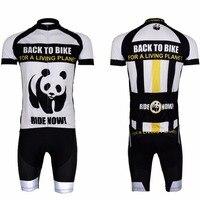 2017 Été Vêtements de Cyclisme Avec Cuissard À Manches Courtes Uniformes Ciclismo Hommes Chinois Panda Blanc Noir VTT Vélo Jersey