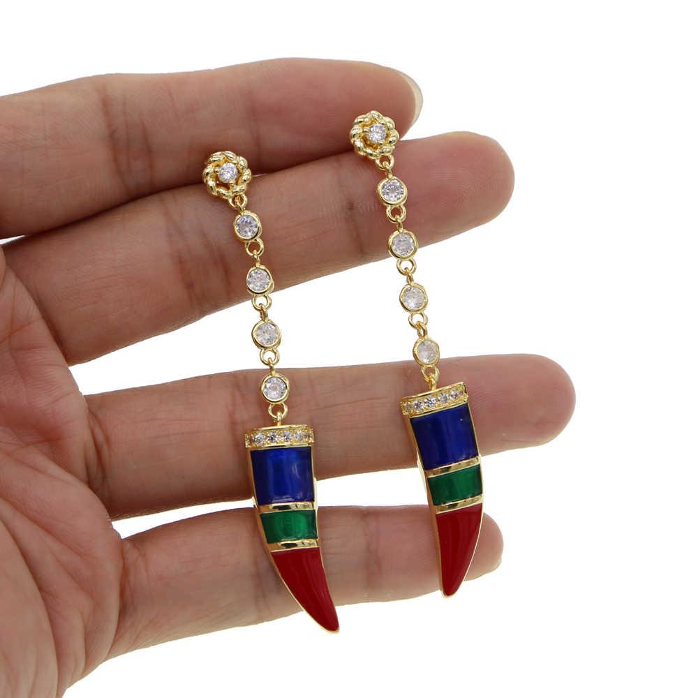 Cz เคลือบฟันขนาดเล็ก charm ฮอร์นยาว dangling ต่างหูทองคำขาวประดับดอกไม้ CZ ที่ละเอียดอ่อน dainty สาวหวานน่ารักเครื่องประดับ