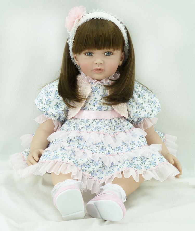 60cm Silicone Vinyl Reborn Baby Doll Toy 24inch Princess Toddler Babies Dolls Lifelike Fashionable Child Birthday Gift