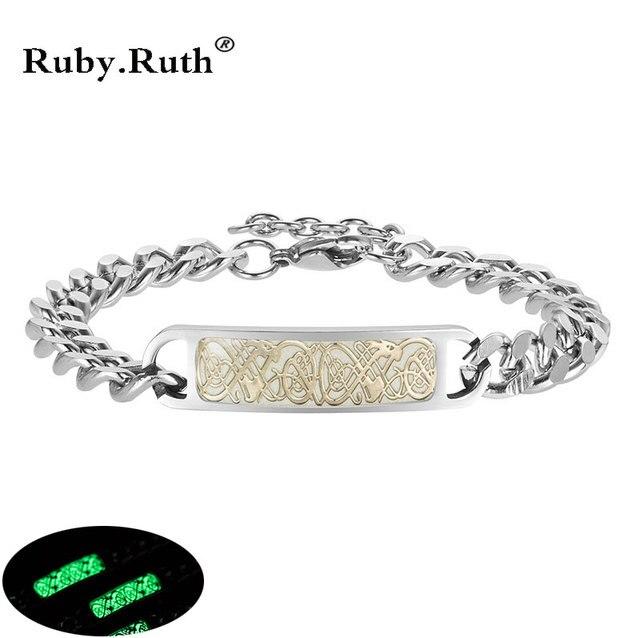 Luminous Dragon Bracelets for Women Men Bracelet Silver Stainless Steel Bangles Jewelry