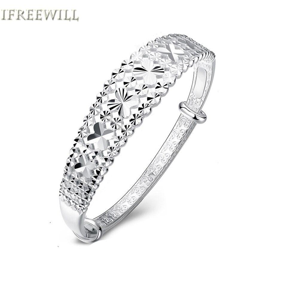 Здесь можно купить  S925 Silver Bangles for Woman Korean Fashion Classical Clover gems Hollow Out Bracelet fine Jewelry Product  Ювелирные изделия и часы