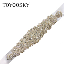 New Arrival Crystal Wedding Belts Satin Rhinestone Dress Pearls Bridal Belt Sash White Ribbon for Bride