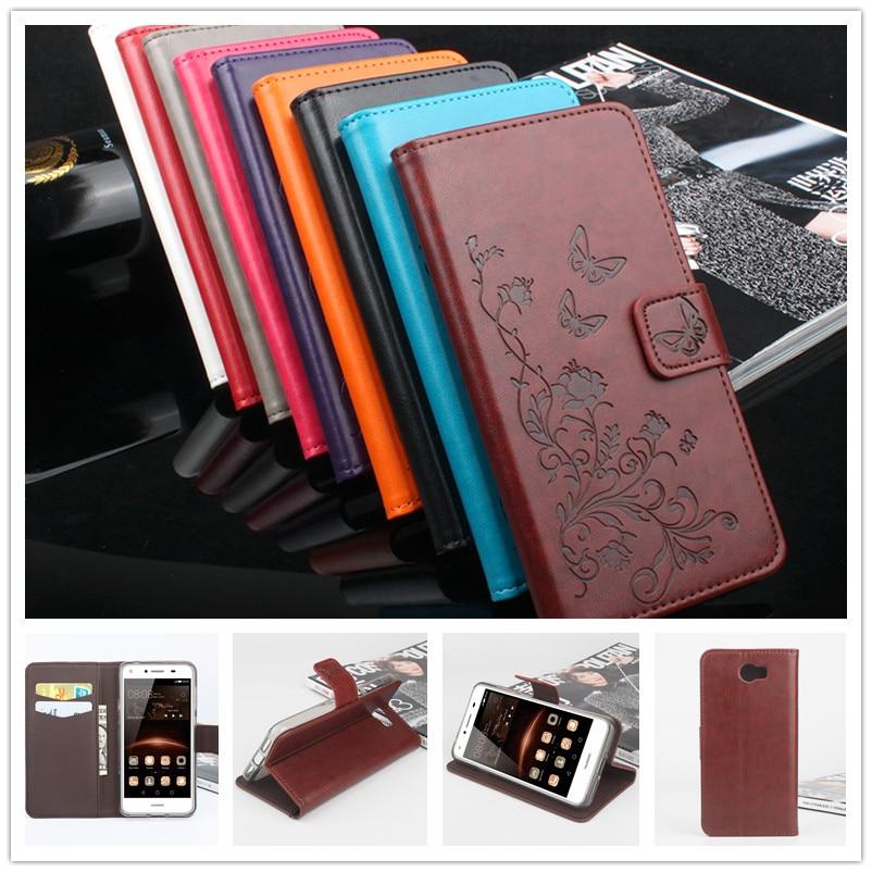 Huawei Y5 II plånbokstil präglat läderfodral för Huawei Honor 5A LYO-L21 Ryssland version 5,0 tums Flip Cover för Huawei Y5 2