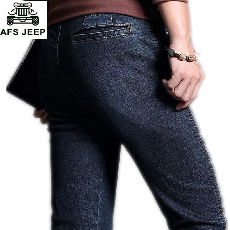 AFS JEEP Autumn Man Jeans Mens Straight Trousers Fashion Male Jean Casual Long Trousers Mans Clothes Denim Botton Plus Size 42
