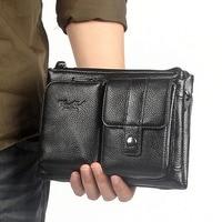 Men Genuine Leather First Layer Cowhide Waist Fanny Belt Hip Bum Male Clutch Tote HandBag Messenge