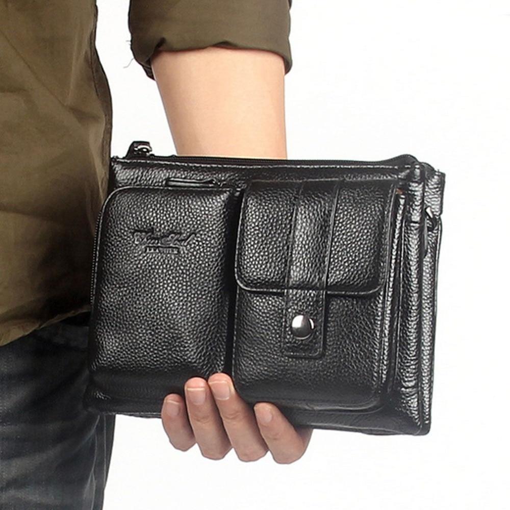 Men Genuine Leather First Layer Cowhide Waist Fanny Belt Hip Bum Male Clutch Tote HandBag Messenger Shoulder Bag DropShipping