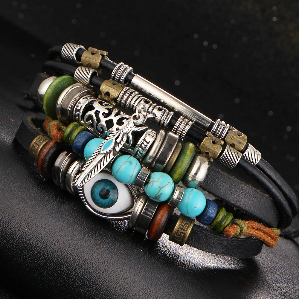 2016 New Brand Turquoise Feather Adjustable Leather Bracelet Evil Eye Fish  Colorful Beads Bracelets For Fashion