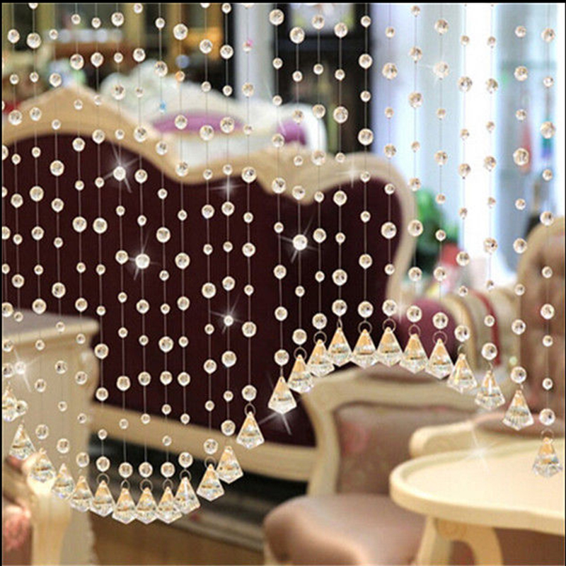 6 X Glass Crystal Clear Beads Hanging Vertical Curtain For