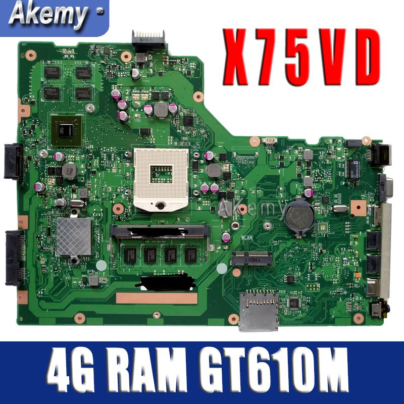 Amazoon X75VD Laptop motherboard for ASUS X75VD X75VC X75VB X75A X75V X75 Test original mainboard 4G RAM GT610M