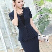 Плюс размер 4XL Мода Полосатый деловой Блейзер Костюмы с жакетами и юбка для дамы Офис Повседневная обувь деловых женщин комплект одежды