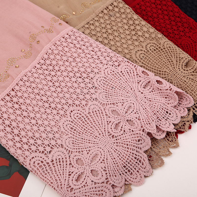 10 pcs/lot Big Size cotton soft lace scarf hijab floral embroidery scarf shinny crystal scarf long muslim HIJAB scarves/shawls