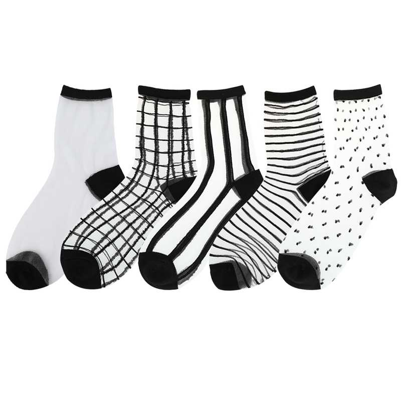 Women Ladies Socks Fashion Sheer Mesh Glass Silk Socks Ultrathin Transparent Crystal Lace Fabulous Elastic Summer Ankle Sock