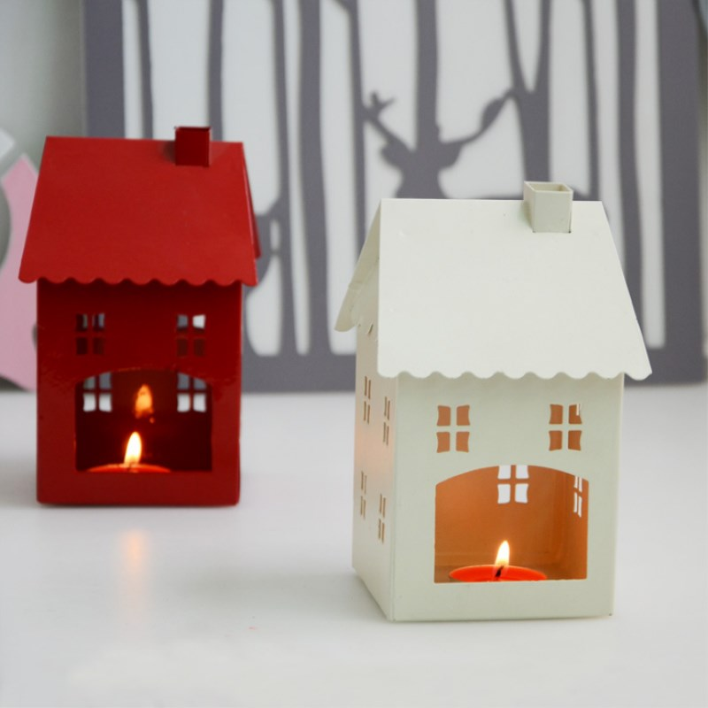 Creative Iron Small House Candle Holder Home Decorations Children Room Scene Layout Small House Style Romantic Warm Candlestick in Candle Holders from Home Garden