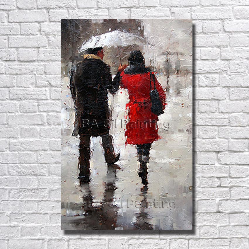 Free Shipping Hand Painted Couple Walking in the Rain Oil Painting Home Decoration Modern Abstract Acrylic