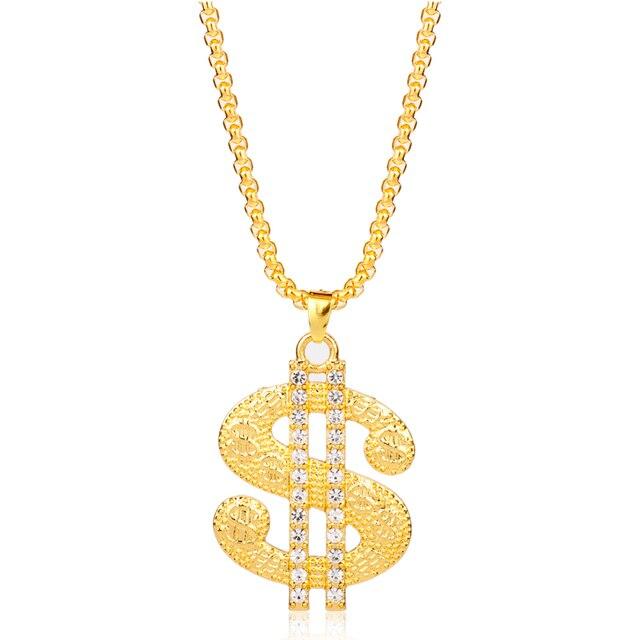 Wholesale Hip Hop Rap Gold Color US Dollar Pendant Necklace Fashion Hiphop  Jewelry Rhinestone Money Dollar Logo Men Women Gift f416c80a8