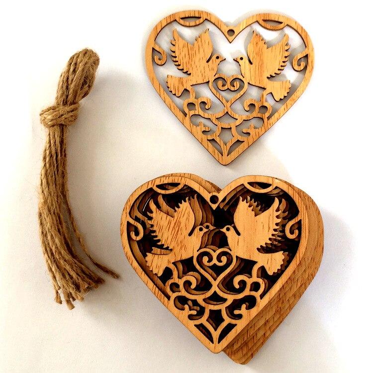 Free Shipping 10pcs/lot Rustic Wedding Wooden Love Heart Wood Embellishment Christmas Tree Love Birds Hanging Ornament Decor