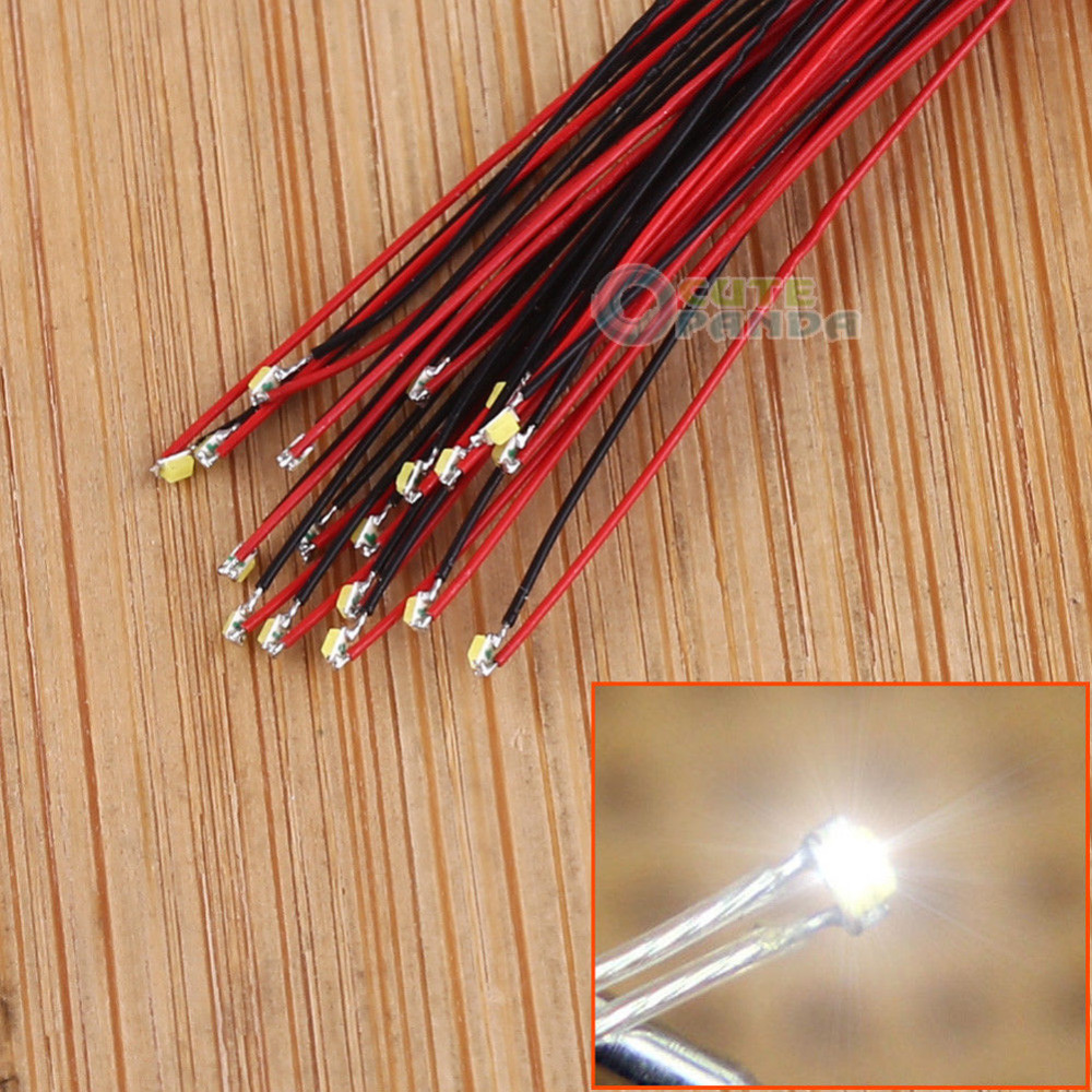 10pcs T0402 Pre-soldered Micro Litz Wired Leads Green SMD Led 0402 200mm UK