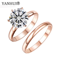 YANHUI Brand Original Pure Gold Filled Double Ring Fashion Jewelry 2ct CZ Zircon Engagement Solitaire Rings Gift For Women R0012